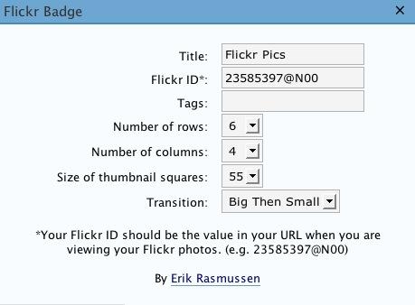 Flickr Flash Badge Widget
