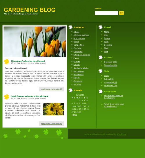 green gardening WordPress theme