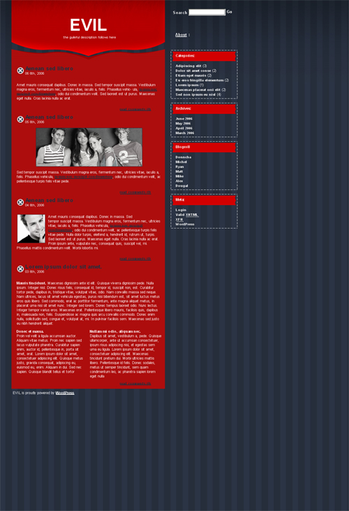 red evil WordPress theme