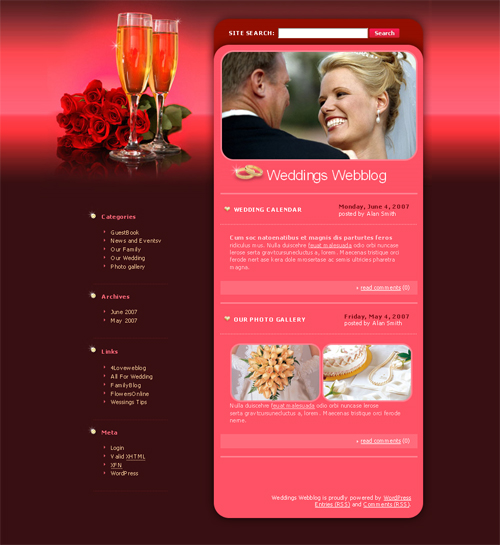 red marriage WordPress theme