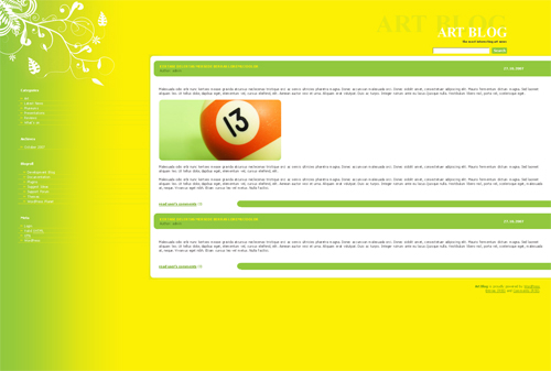 yellow green art blog WordPress theme