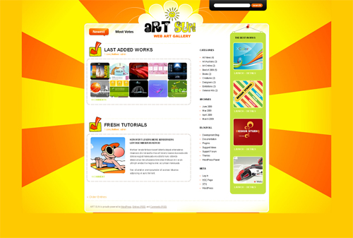 yellow rays art blog WordPress theme