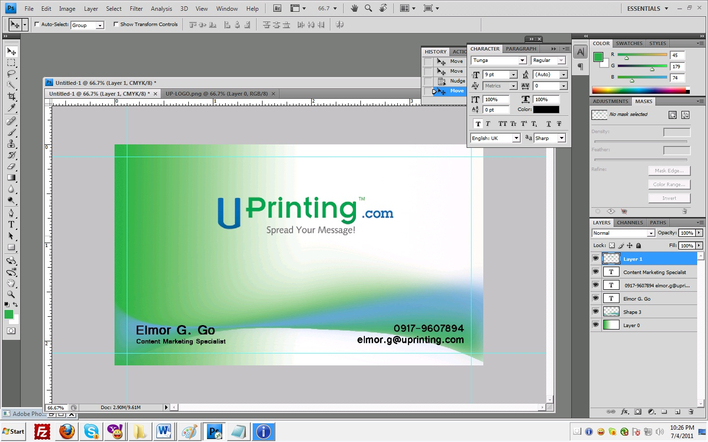 Make Simple yet Stylish Business Card Using Photoshop