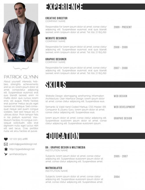 cv photoshop template