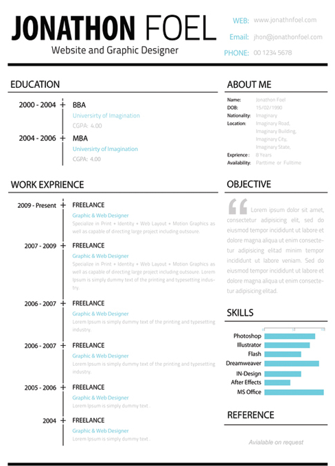 Free Resume CV Templates - One page resume template free