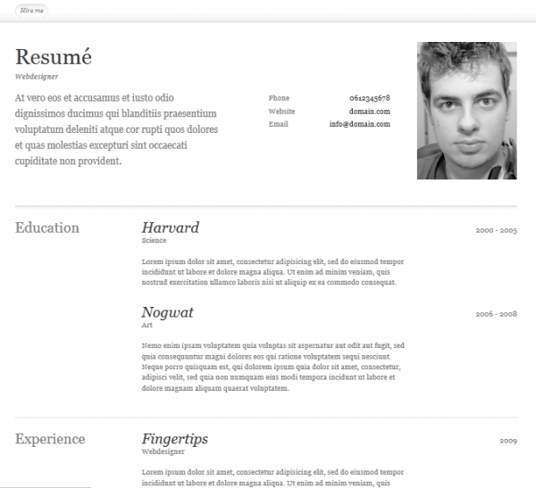 free html resum template - Resume Templates Free Html