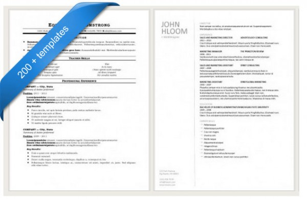samples by hloom - Free Resume Cv Templates