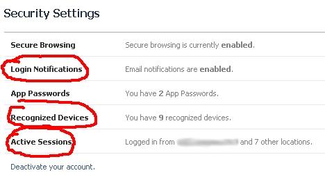 Security Settings in Facebook