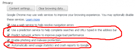 Enable DNS pre-fetch, Disable sending crash stats in Chrome
