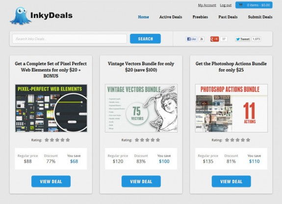 Inkydeals redesign homepage