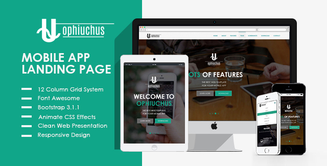 Ophiuchus - Mobile App Landing Page